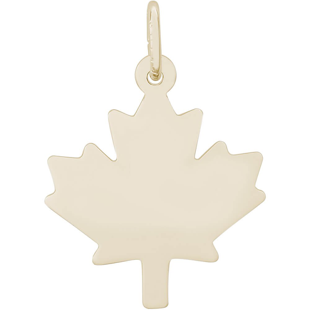 Rembrandt Charms 10K Yellow Gold Flat Maple Leaf Charm (18 x 17.5 mm)