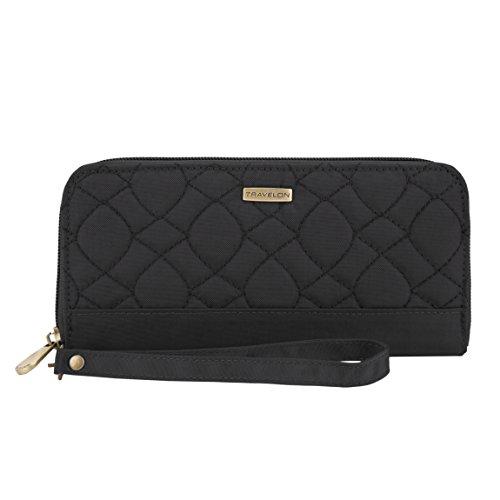 Travelon RFID Blocking Signature Quilted Single Zip Wallet, Black