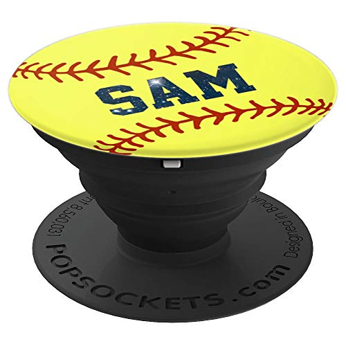 (Softball Sam Customized Gift Personalized Girls Name - PopSockets Grip and Stand for Phones and Tablets)