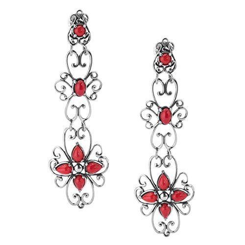 Carolyn Pollack Sterling Silver Red Coral Dangle Earrings - CP Signature Collection - Xxx Cp Set