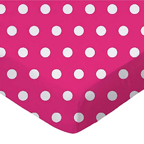 SheetWorld Fitted Portable / Mini Crib Sheet - Polka Dots Hot Pink - Made In USA