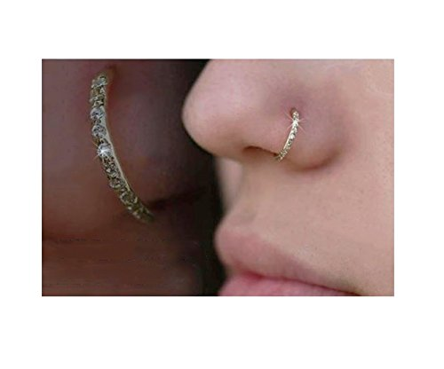Encrusted Crystal Diamante Nose Ring Hoop Stud Small Nose Ring 6mm 8mm (6mm, Gold)