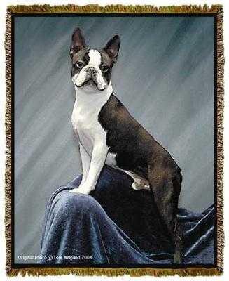 Boston Terrier Throw Blanket Tapestry Afghan