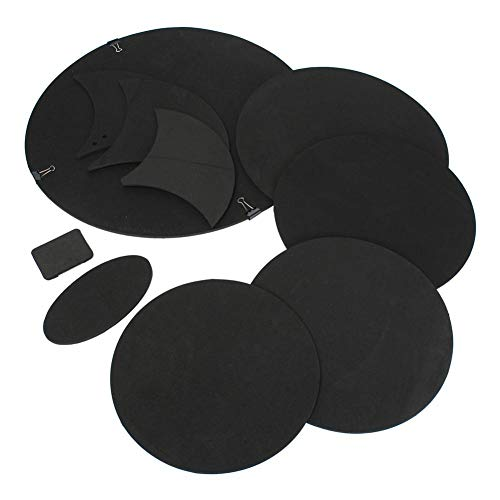 Owlhouse Drum Silencer Pad 10PCS/Set Rubber Foam Bass Pad Drum Snare Drum Quiet Mute Silencer Practice Pad Black