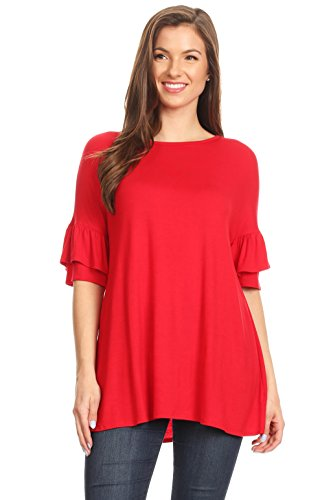 Simlu Womens Tunic Tops to Wear with Leggings Ruffle Sleeve Reg and Plus Size Tunics T Shirts - Made in USA Red X-Large ()