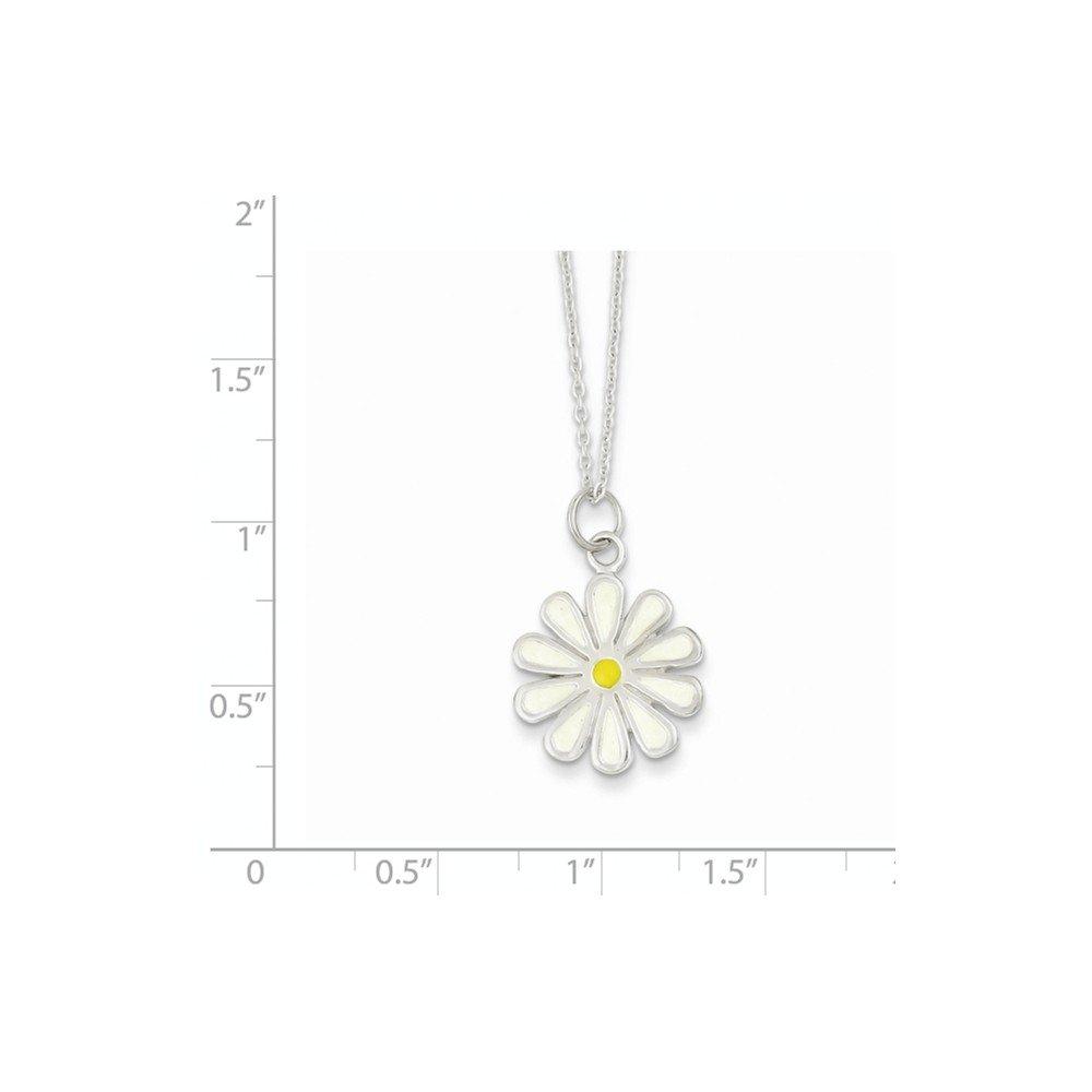 Sterling Silver Enameled Flower Necklace