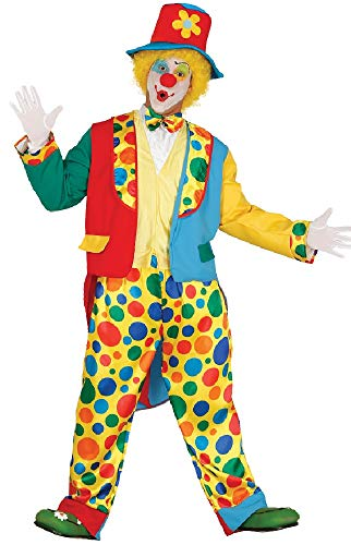 Mens Spotty Circus Clown Festival Carnival Halloween Fancy Dress Costume Outfit (Extra -