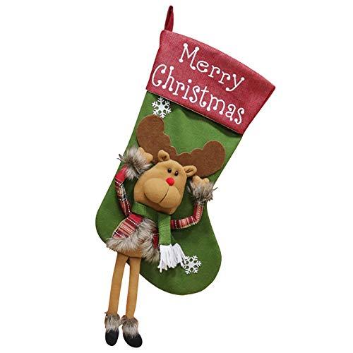 Medias de Navidad Colgantes de 47cm para Decoración Navidad Adornos Navideña Bolsa de Dulces (Reno)