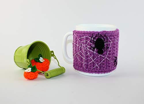Mug Cozy, Crochet spider, Crocheted Coffee Mug Cozy, Halloween decor, Cup in a knitted cover, Spider webs, Coffee Cup Cozy, Tea Cozy -