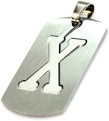 Letra X iniciales de chapa ejército Militar acero inoxidable colgante collar de plata alfabeto: Amazon.es: Joyería