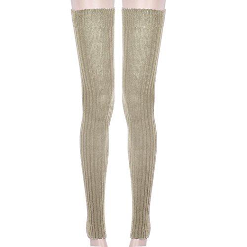 TAORE Over The Knee High Knit Boot Socks Leg Warmers (Khaki)