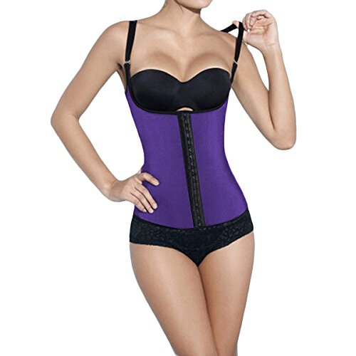 Shymay Women's Compression Waist Trainer Latex Workout Underbust Waist Cincher, Purple, 36