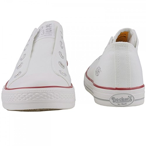 Dockers by Gerli Damen Canvas Sneaker Weiß, Schuhgröße:EUR 39