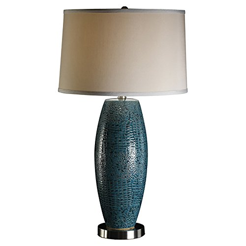 Crestview Collection Melrose Creamic and Metal Table Lamp, Blue