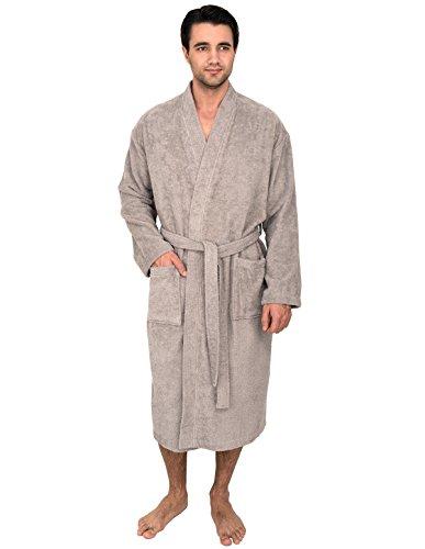 TowelSelections Men's Robe, Turkish Cotton Terry Kimono Bathrobe X-Large/XX-Large Ash