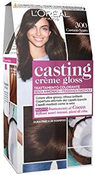LOréal Paris Casting Creme Gloss, tratamiento colorante para el cabello, sin amoniaco para una fragancia agradable. Castano Scuro 300