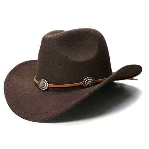 Elee Vintage Style Unisex Wool Blend Wide Brim Western Cowboy Hat Cowgirl Cap (Coffee) ()