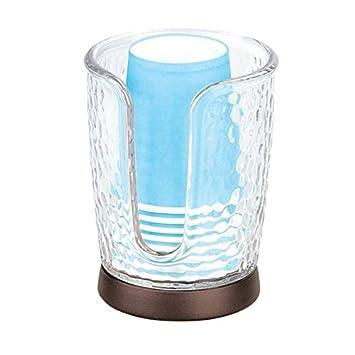 mDesign Dispensador de vasos - Soporte para vasos fabricado en plástico con detalles en bronce - Práctico sujetavasos con base antideslizante - 8 vasos ...