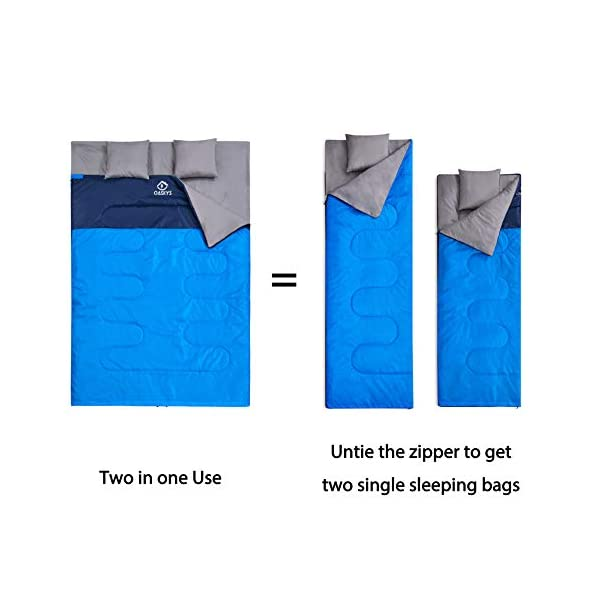oaskys Camping Sleeping Bag - 3 Season Warm & Cool Weather - Summer, Spring, Fall, Lightweight, Waterproof for Adults & Kids - Camping Gear Equipment, Traveling, and Outdoors (Double Blue) 5