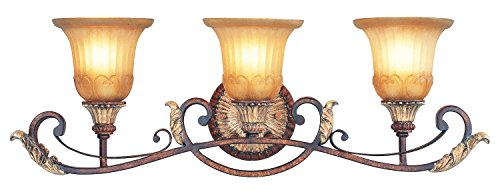 Verona Bronze 3 Light 300W Bathroom Light With Medium Bulb Base And Rustic Art Glass From Villa Verona Series - Verona 3 Light Vanity