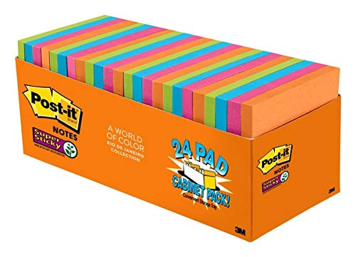 Big Note (Post-it Super Sticky Notes, Orange, Green, Blue, Pink, Yellow, 2X the Sticking Power, Great for Windows, Doors and Walls, Value Pack, 3 in. x 3 in, 24 Pads/Pack, 70 Sheets/Pad (654-24SSAU-CP))