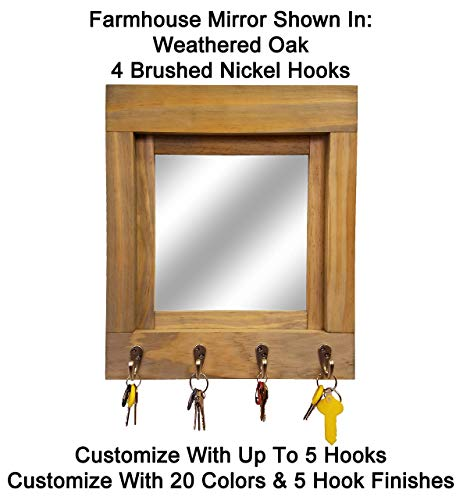 Farmhouse Decor Mirror with Hooks - Customize with up to 5 Single Hooks & Available in 20 Colors: Shown in Weathered Oak - Mirror Key Holder - Rustic Wall Decor - Key Ring Holder for Wall