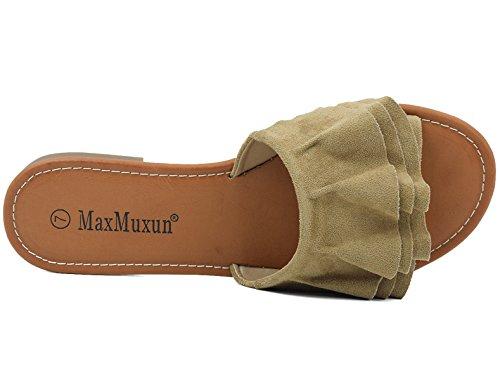 MaxMuxun Militare Pantofole Sandali Verde Donna Z0wZSqna7