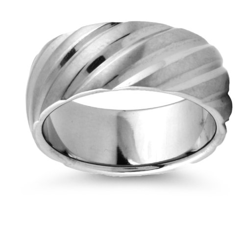 Titanium Ring with Angled Indentation Pattern for Men - Comfort Fit. Size: 10 Width: 8mm