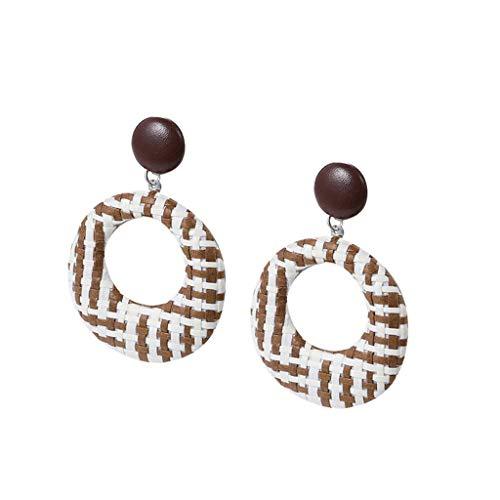 iNoDoZ Handmade Wood Bamboo Rattan Earrings,Bohemian Style Geometric Round Earring Ladies Jewelry