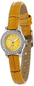 Invicta Women's 13657 Angel Yellow Dial Crystal Accented Gold Leather Watch