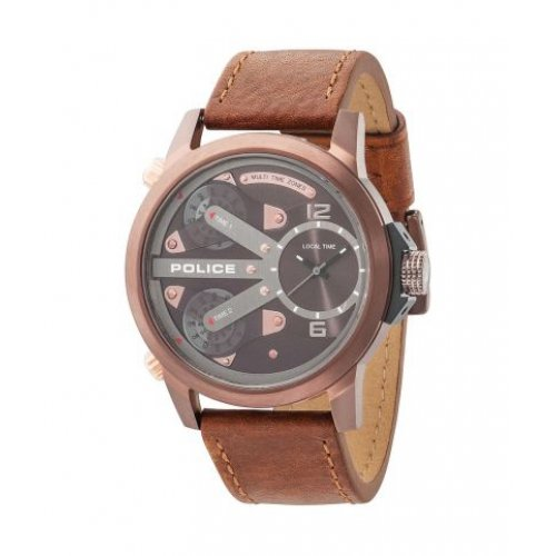 Police Men's 50mm Brown Leather Band Steel Case Quartz Analog Watch 14538JSBN65A
