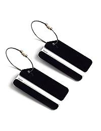 TopTie 2 Pcs Luggage Tag Aluminium Alloy W/ Name Card Metal Wire Travel Accessories - Black