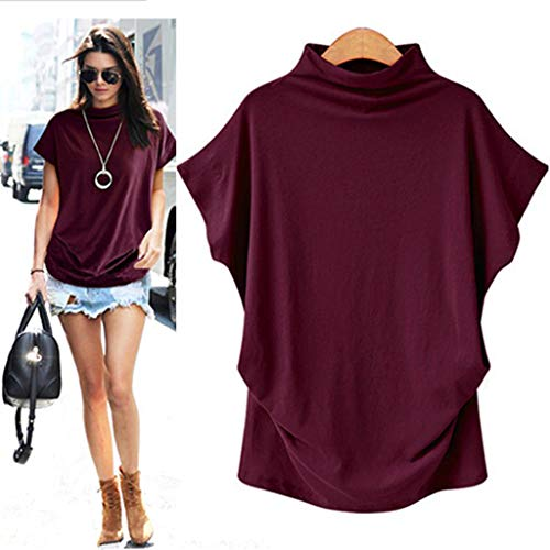 COOKI Women Shirts Turtleneck Short Sleeve Cotton Blouse T Shirt Casual Loose Tunic Tops Red