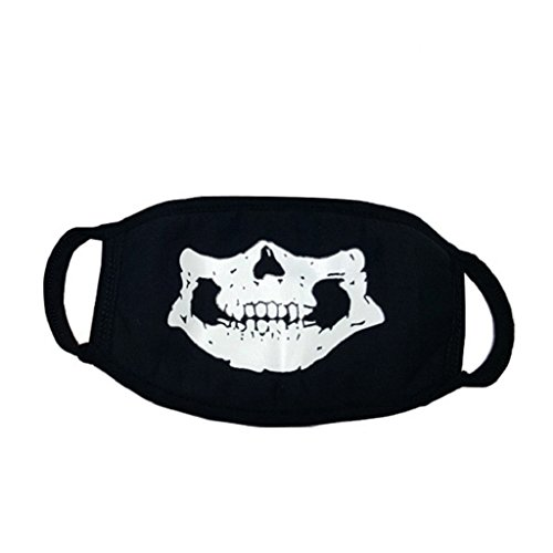 potato001 Unisex Cosplay Party Cycling Luminous Face Mask Anti Dust Cotton Mouth Mask (Skull)