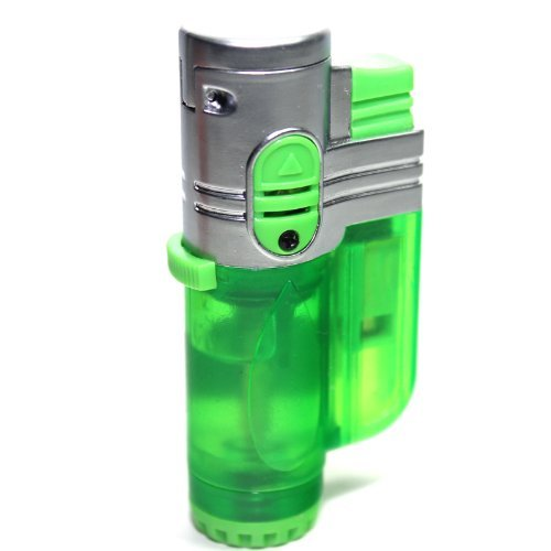 T19 Green Color Triple Flames Refillable Butane Torch Lighter - Flame Lock - 3 Inch - Unboxed ()
