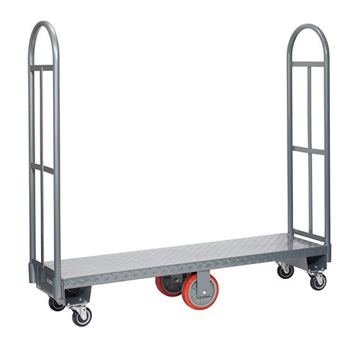 Winholt 300-48D / PU U-Boat Diamond Steel Deck, Utility Cart with Polyurethane Center and End Wheels, 2000 Lb. Capacity, 51