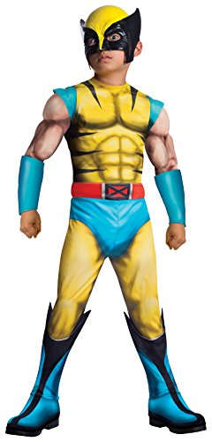 Wolverine Costumes Accessories - Rubies Marvel Universe Classic Collection Deluxe Fiber-Filled Muscle-Chest Wolverine Costume, Medium (8-10)