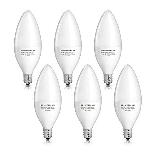 SHINE HAI Candelabra LED Bulbs 40W Equivalent, 5000K Daylight White Decorative Candle Light Bulb E12 Base, B11 Led Light Bulbs, UL-Listed, 120V, 3 Years Warranty, Pack of 6 (Led Candelabra Bulb 9w)