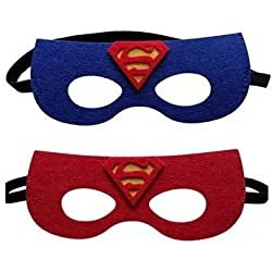 12 Pieces Superheroes Party Character Felt Fun Cosplay Masks Headwear Spiderman Superman Boys and Girls Theme (Superman)