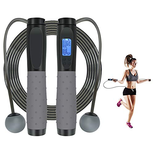 COPACHI Jump Rope Digital,Multifun Speed Skipping Rope Calorie Counter Upgraded Chip and TPE Non-Slip Handles for Training Fitness,Adjustable Length, Ball Bearings for Women, Men and Children
