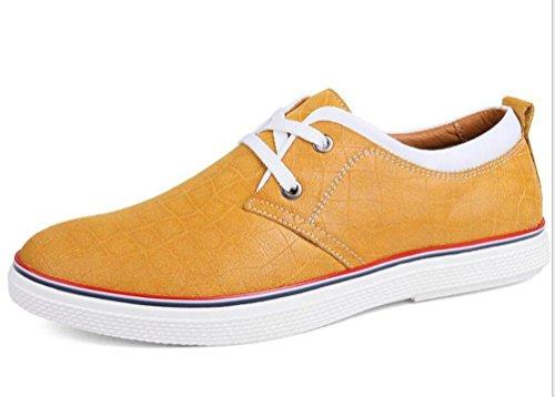 Los hombres de los hombres de los hombres de los holgazanes de la lona del ocio respirable transbordan los zapatos ocasionales antideslizantes de la tapa del dedo del pie redondo ligero UE 39-44 Yellow