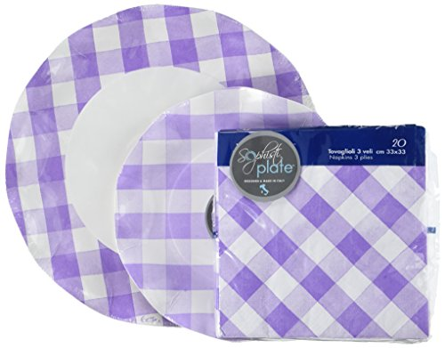 Sophistiplate Lilac Gingham Paper Party 10 Guests Includes L