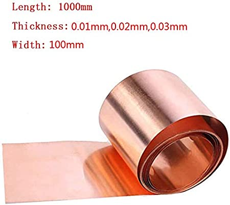 100mm,Thickness0.01mm Width Wzqwzj Pure Copper Cu Sheet Foil 1000mm,Thickness 0.01mm,0.02mm,0.03mm