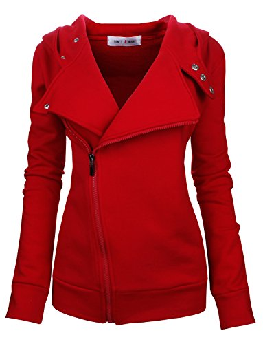 Tom's Ware Women Slim fit Zip-up Hoodie Jacket TWHD1003-RED-M (Red Tom)