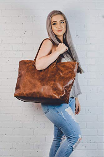 (Personalized Fine Leather Tote Bag with Zipper | Bridesmaids Gift for Her,Wife, Mom| Leather Diaper Bag Purse- The Madison Tote)