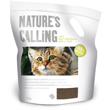 Natures Calling - Arena biodegradable para gatos (2,7 kg, 4 unidades)