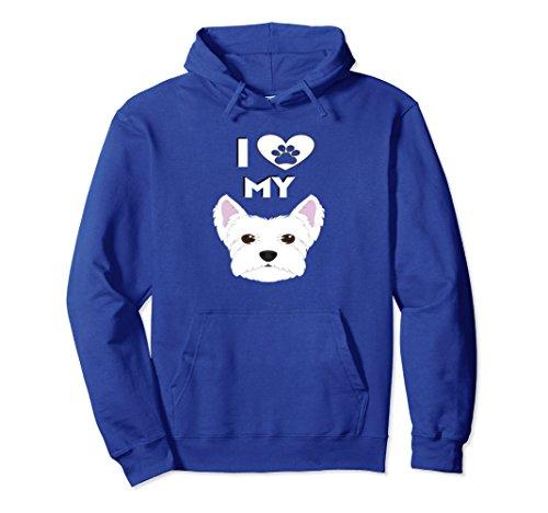 (Unisex I Love My Dog Westie West Highland Terrier Gift Hoodie 2XL Royal Blue)