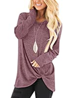 Yidarton Women's Comfy Cold Shoulder Twist Knot Tunics Tops Blouses Tshirts