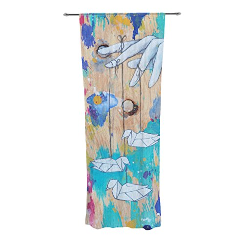 Kess InHouse Kira Crees Origami Strings Decorative Sheer Curtain Set, 30