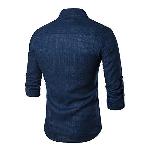 Veravant Lin Fit Longue Bleu Homme Manche Slim Col Unie Marine Mao Chemise TwrqXT